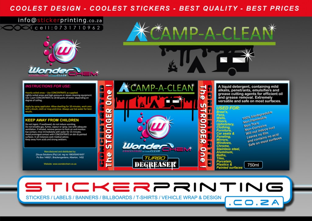 label sticker design & printing for camping product