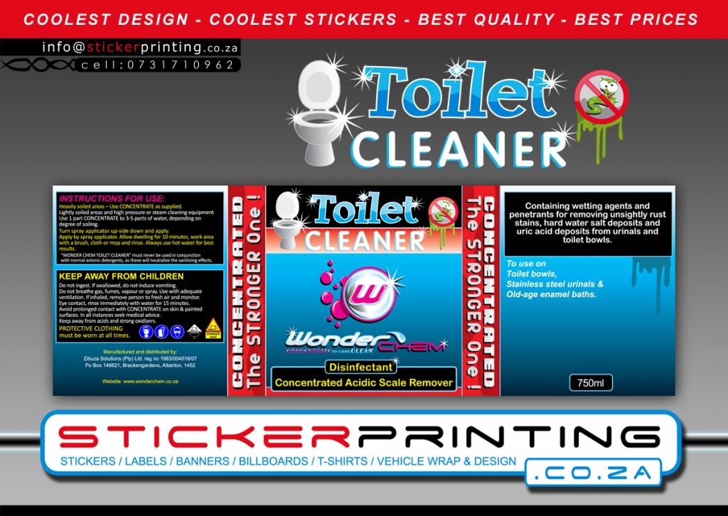 label-sticker design for toilet cleaner
